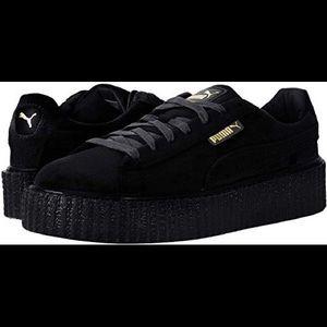 Black velvet fenty puma platform creeper sneaker